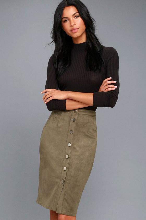 99a82645f1 Chic Pencil Skirt - Olive Green Skirt - Vegan Suede Skirt