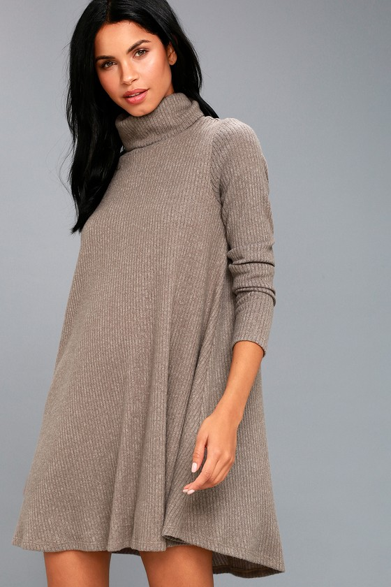 aaf63c10c47a Taupe Swing Dress - Long Sleeve Dress - Turtleneck Dress