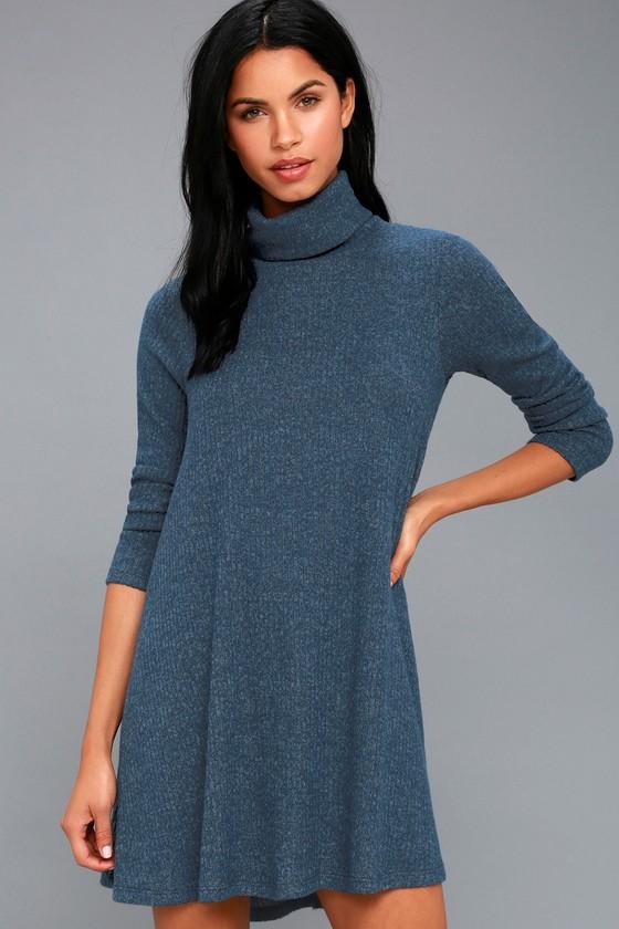 f5e072a20d5e Navy Blue Swing Dress - Long Sleeve Dress - Turtleneck Dress