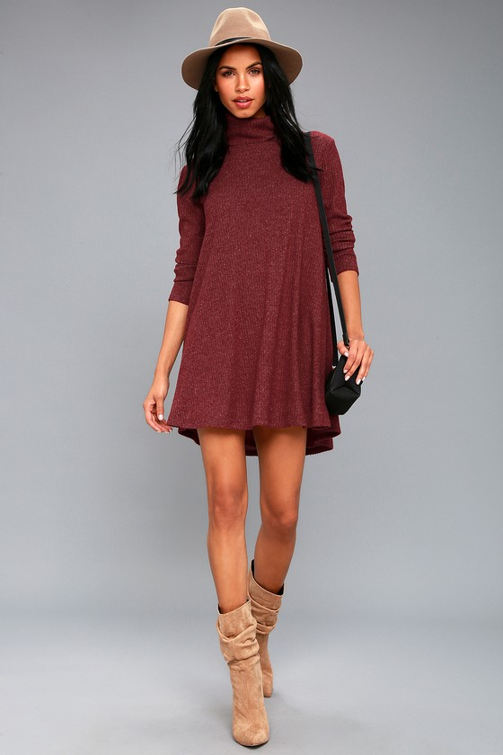 b7dc31fd773a Burgundy Swing Dress - Long Sleeve Dress - Turtleneck Dress