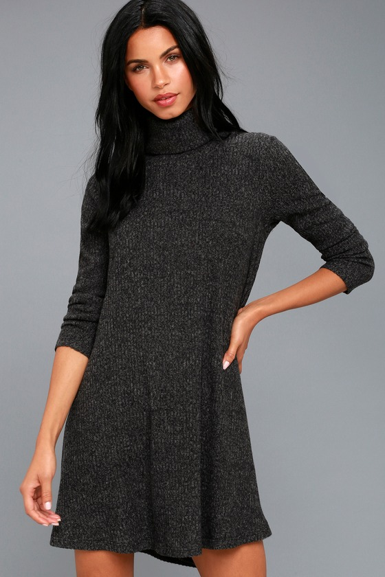 ace5e0323a6 Grey Swing Dress - Long Sleeve Dress - Turtleneck Dress