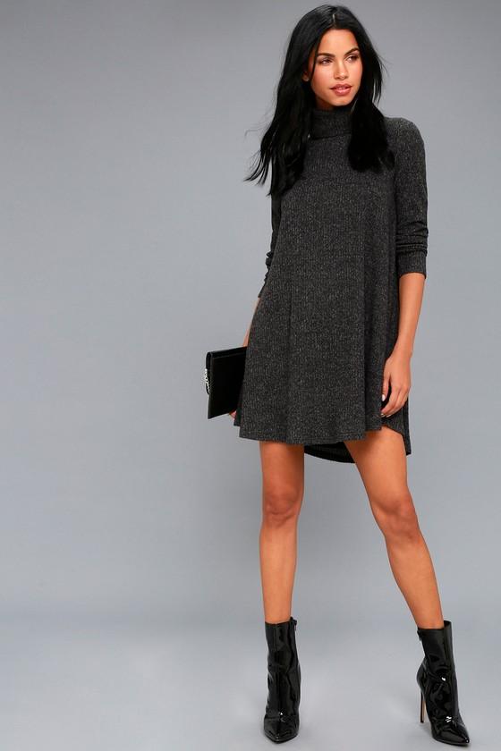 79152c53bd9f Grey Swing Dress - Long Sleeve Dress - Turtleneck Dress