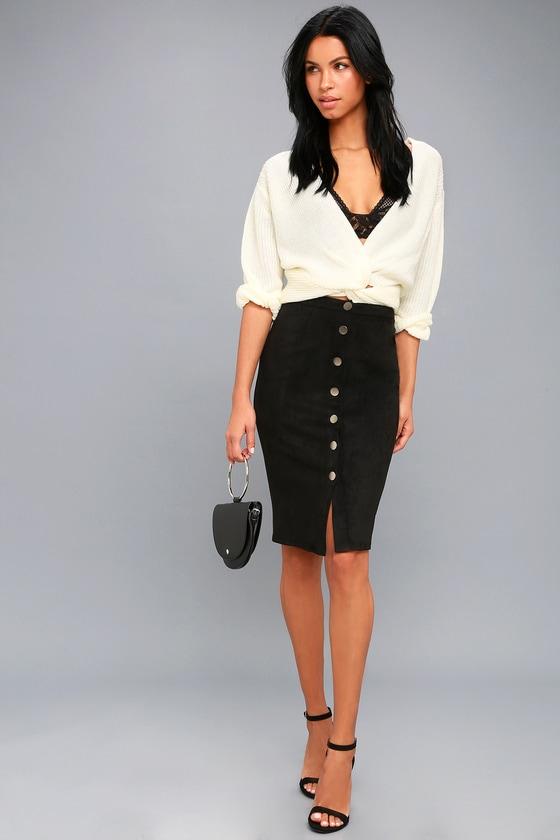 381134d83f Chic Pencil Skirt - Black Skirt - Vegan Suede Skirt