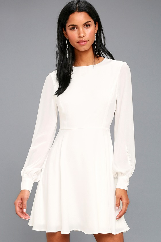 Chic White Dress - Long Sleeve Dress - Button Cuff Dress