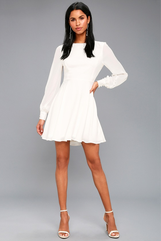 26510feb72a Chic White Dress - Long Sleeve Dress - Button Cuff Dress