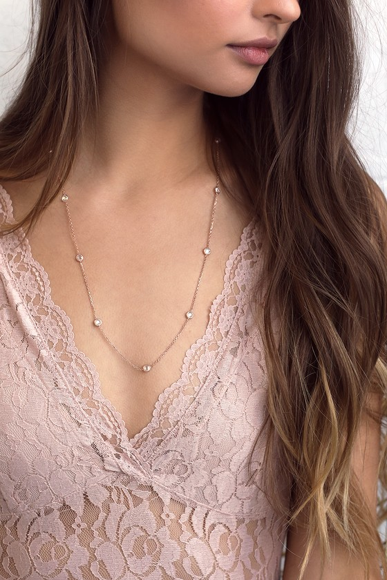 Carolina Rose Gold Rhinestone Necklace 5