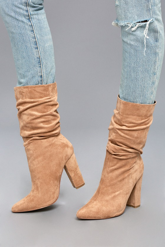 b610c2415da0 Chic Nude Boots - Mid-Calf Boots - Vegan Suede Boots