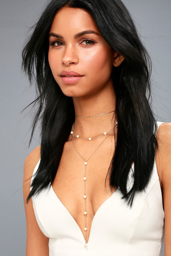 See and Be Sheen Gold and Pearl Layered Drop Necklace 3