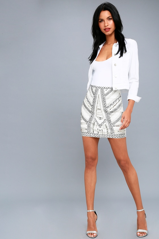 0b85ebc7d5 Chic White Mini Skirt - Sequin Mini Skirt - Beaded Skirt