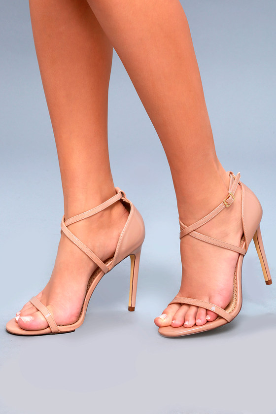 Lulus Trixy Blush Patent Ankle Strap Heels - Lulus i49m6f