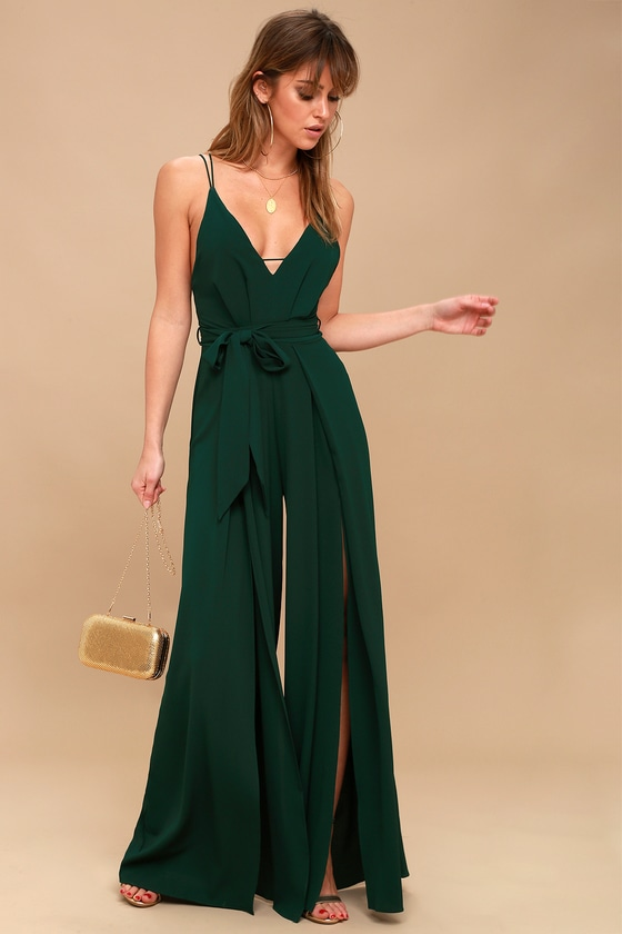 5e949954463 Sexy Backless Jumpsuit - Forest Green Wide-Leg Jumpsuit