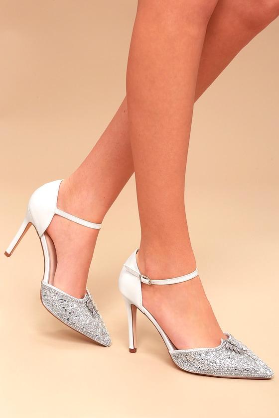 114fe457a11 Stunning Rhinestone Heels - White Heels - Vegan Heels