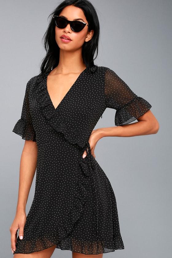 91820681bf8 Cute Black Dress - Polka Dot Dress - Wrap Dress