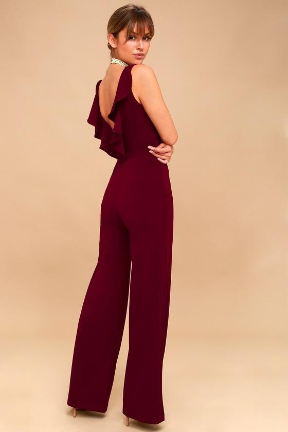 9301dc8a152 Chic Jumpsuit - Backless Jumpsuit - Burgundy Jumpsuit