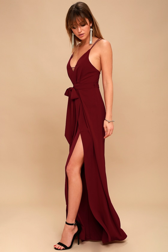 Hype Dream Wine Red Backless Wide-Leg Jumpsuit