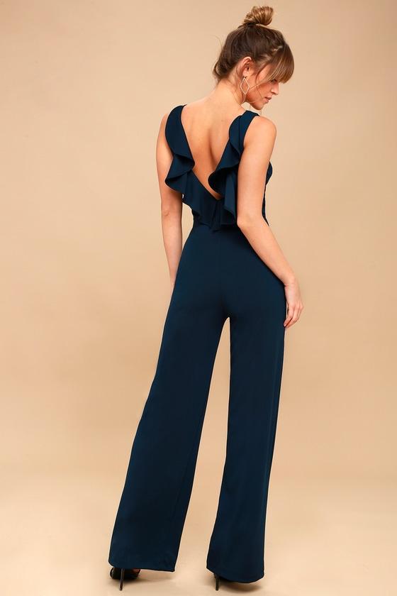 b55a2c5df2de Chic Jumpsuit - Backless Jumpsuit - Navy Blue Jumpsuit