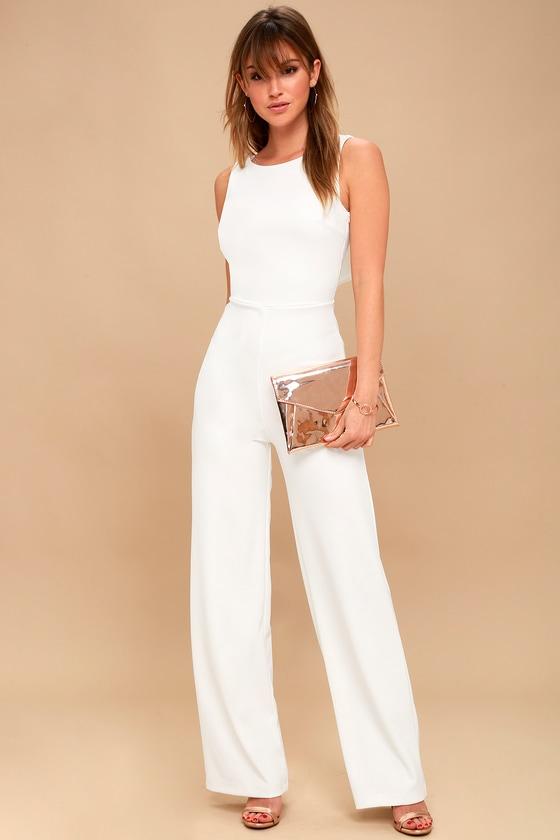3aaf488589b1 Chic Jumpsuit - Backless Jumpsuit - White Jumpsuit