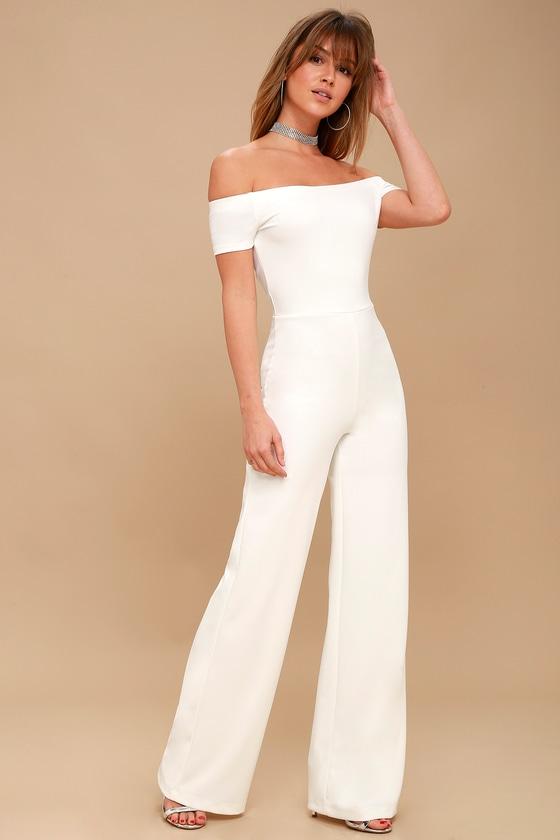 bf92e0b399c Sexy White Jumpsuit - Off-the-Shoulder Jumpsuit