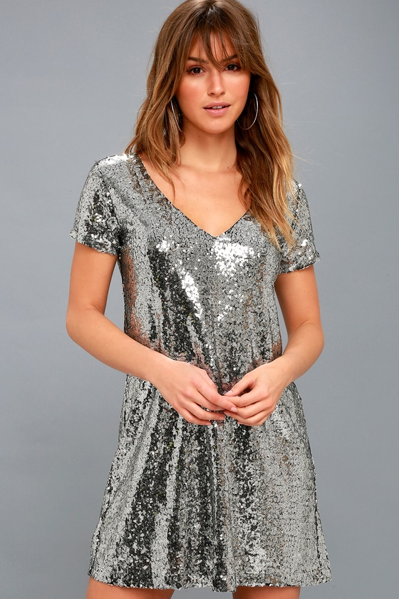 Light Up the Night Silver Sequin Shift Dress 1