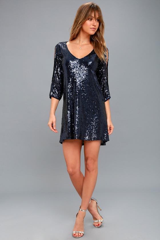 bbd041da Navy Blue Sequin Shift Dress - Cold-Shoulder Sequin Dress