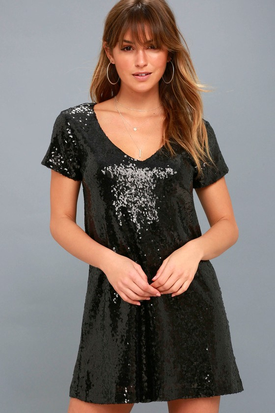Light Up the Night Black Sequin Shift Dress 1