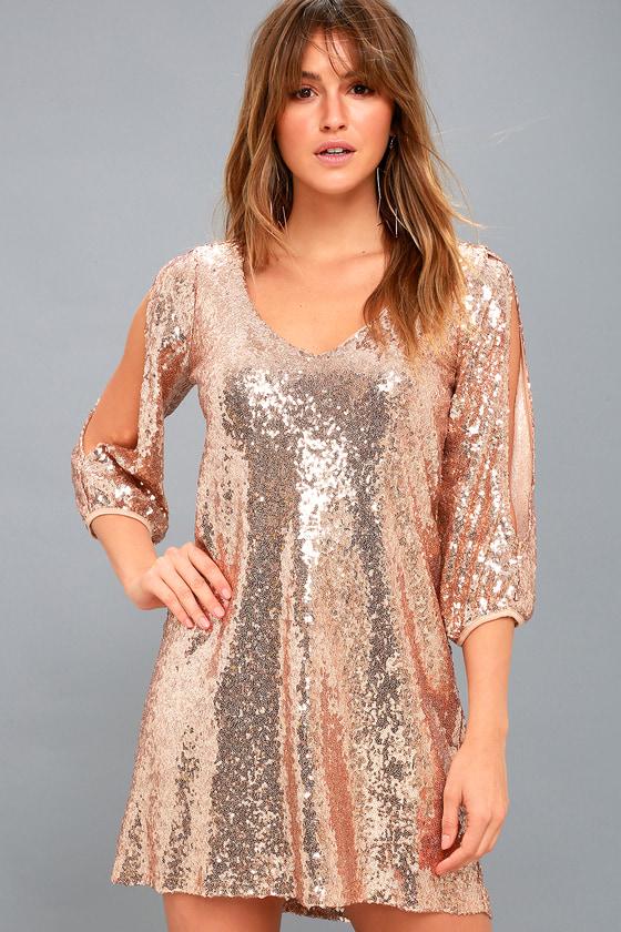 249e5f9e Rose Gold Sequin Shift Dress - Cold-Shoulder Sequin Dress