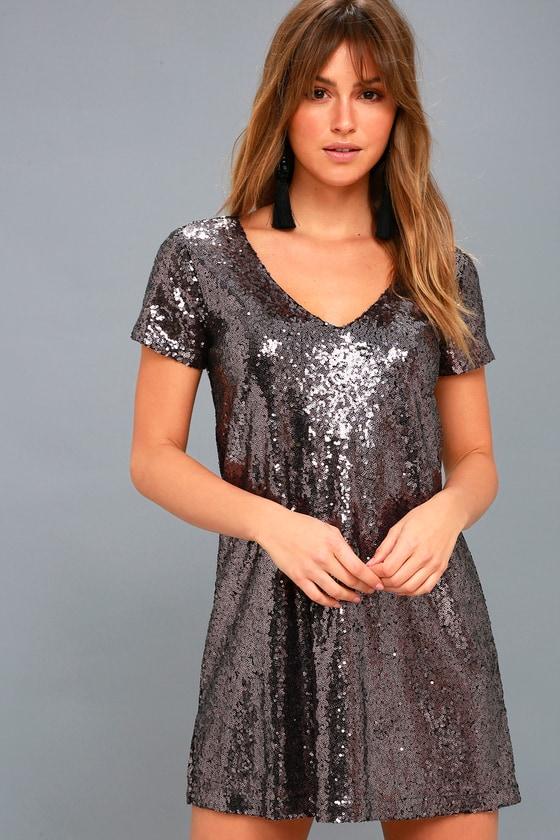 Light Up the Night Lavender Sequin Shift Dress 1