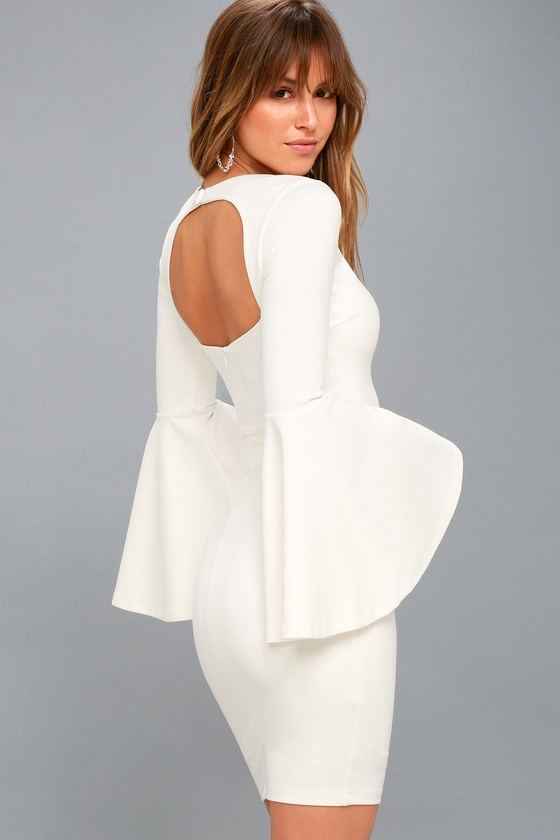 Style Spotlight White Flounce Sleeve Bodycon Dress 2