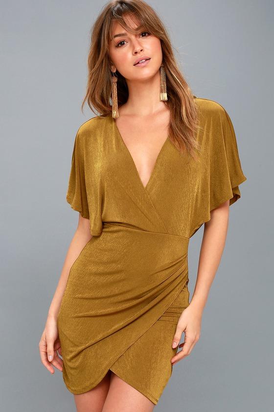 Vintage Cocktail Dresses, Party Dresses, Prom Dresses Haley Dark Gold Backless Dress - Lulus $98.00 AT vintagedancer.com