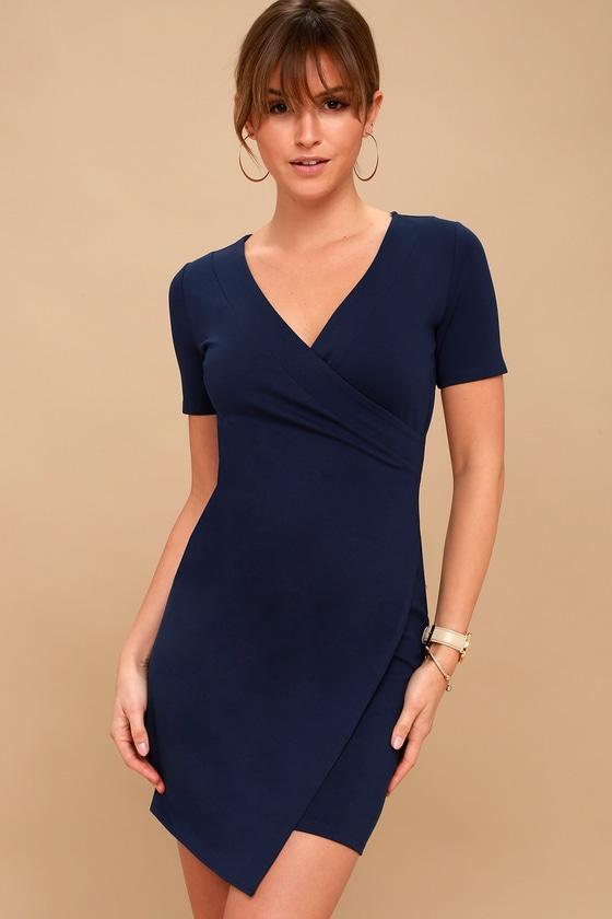ROWEN NAVY BLUE ASYMMETRICAL BODYCON DRESS