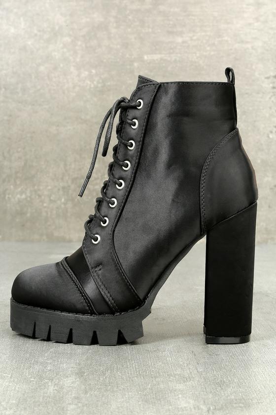 Rockabilly Dresses   Rockabilly Clothing   Viva Ynez Black Satin Lace-Up Platform Booties - Lulus $53.00 AT vintagedancer.com