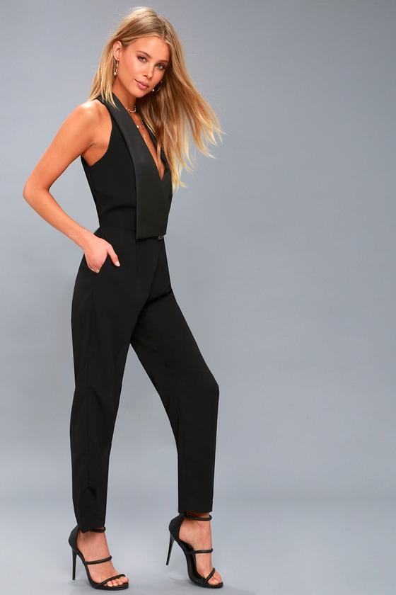 b52203d4445 Chic Black Jumpsuit - Sleeveless Jumpsuit - Tuxedo Jumpsuit
