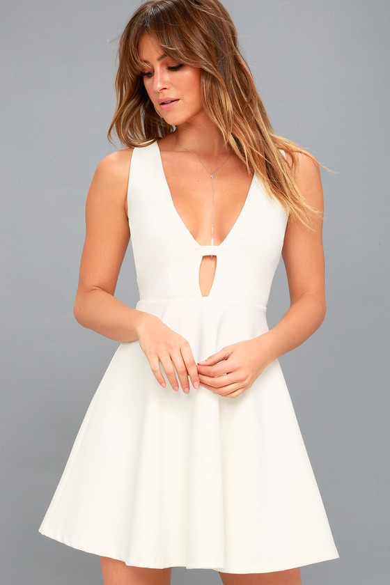 811693cab43 Sexy White Dress - Plunging Dress - Plunge Skater Dress