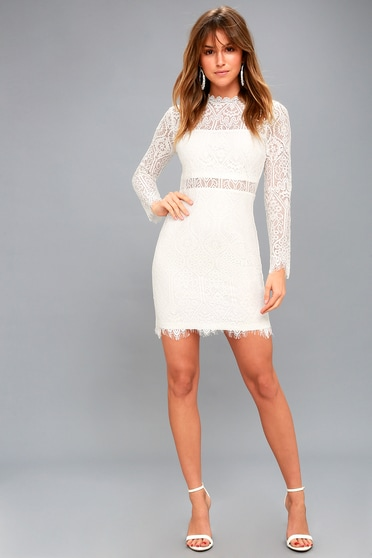 fc6b3d7be22 Appetite for Seduction White Lace Long Sleeve Dress