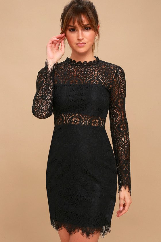 Sexy Black Dress - Black Lace Dress - Long Sleeve Lace Dress