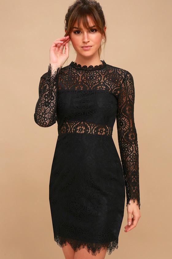 Appetite for Seduction Black Lace Long Sleeve Dress