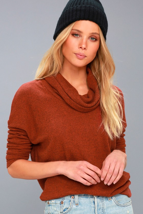 Z Supply Brushed Rib Rust Orange Cowl Neck Sweater