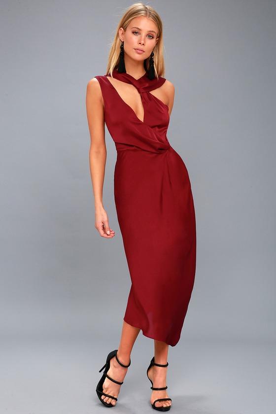 Transcend Wine Red Midi Dress 1