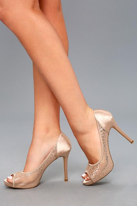 Nude Peep-Toe Heels - Lace Peep-Toe Heels - Peep-Toe Pumps f432addda5ec
