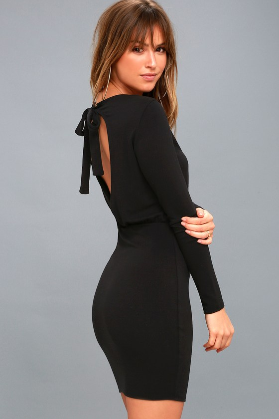 7305e9a350 Sexy Black Dress - Open Back Dress - Bodycon Dress