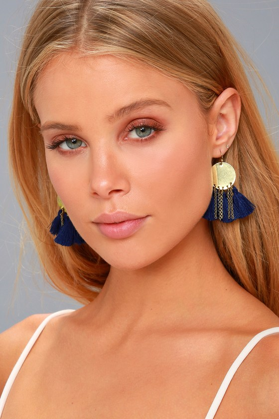 Everyday Allure Gold and Navy Blue Tassel Earrings 1