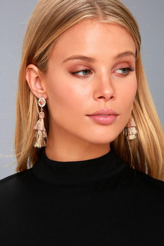 Halo, I Love You Rose Gold Tassel Earrings 1