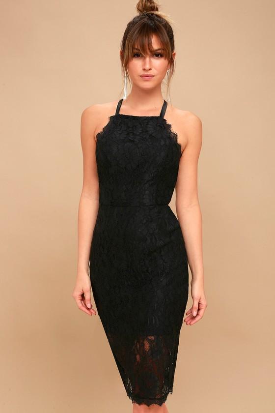 Wishful Wanderings Black Lace Bodycon Midi Dress 1