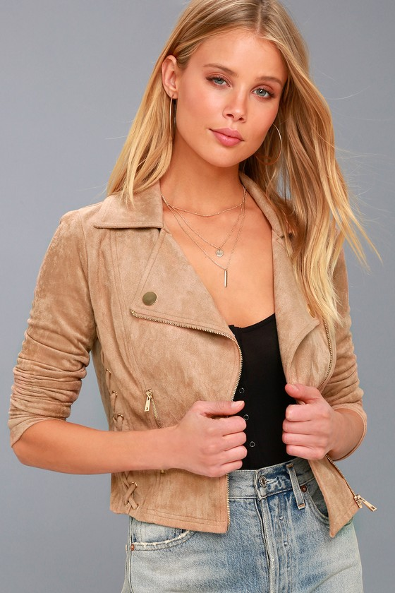 Orson Tan Vegan Suede Lace-Up Moto Jacket 3