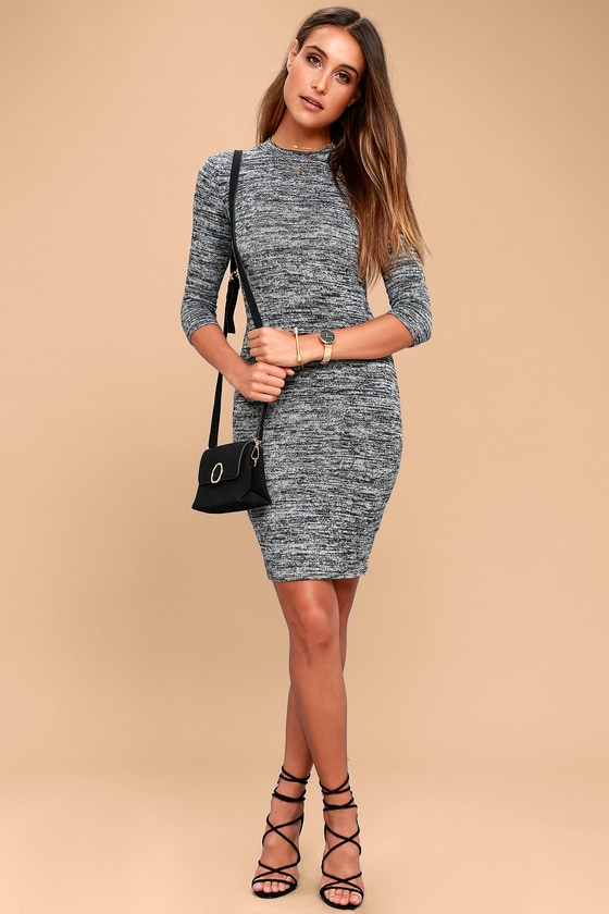 3b8849e364c Chic Grey Marl Knit Dress - Midi Dress - Bodycon Dress