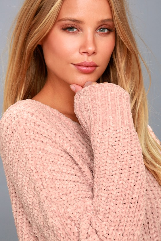 Cute Pink Sweater Chenille Knit Sweater V Back Sweater