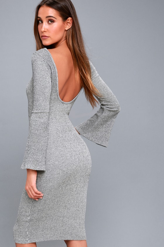 Flair Play Grey Bodycon Midi Sweater Dress 2