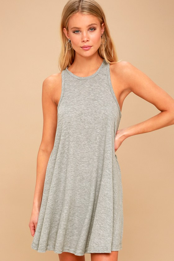 ec281c3c63450 Free People LA Nite Mini Dress - Heather Grey Tank Dress