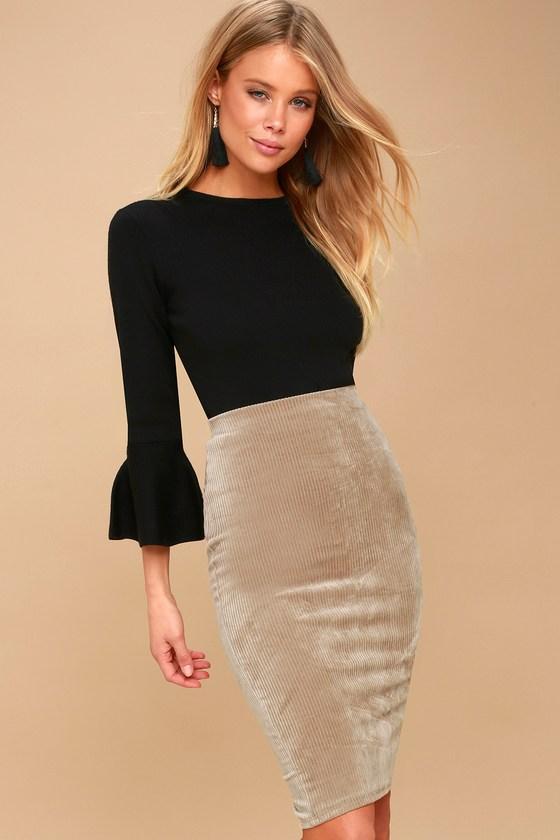 94e4bc1df7 Cute Taupe Skirt - Bodycon Corduroy Skirt - Midi Skirt