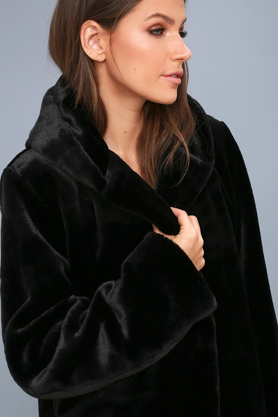 Luxe Black Jacket - Faux Fur Jacket - Hooded Jacket